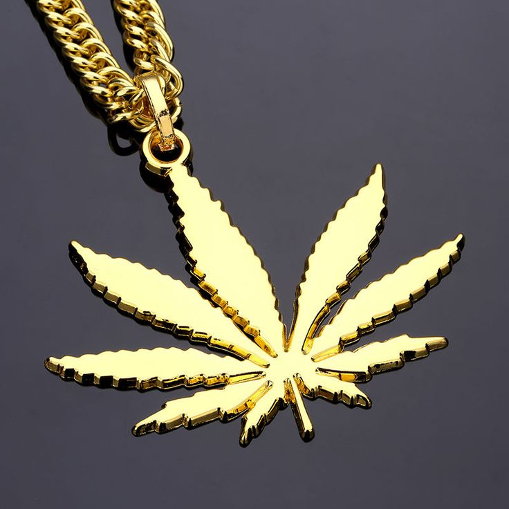 Hemp Leaf Pendant Necklace Gold Silver Color Men Accessories Hip Hop Jewelry 90cm Long Chain High Quality Fashion Punk Gift