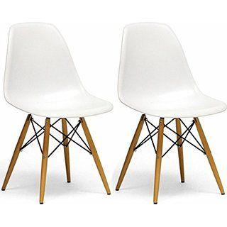 Mod Made Paris Tower Side Chair Wood Leg, White, Set of 2