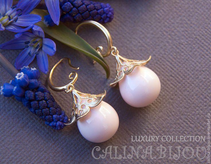 Купить Серьги позолоченные с жемчужной каплей - розовый, нежно-розовый, золотой, золотистый, нежность