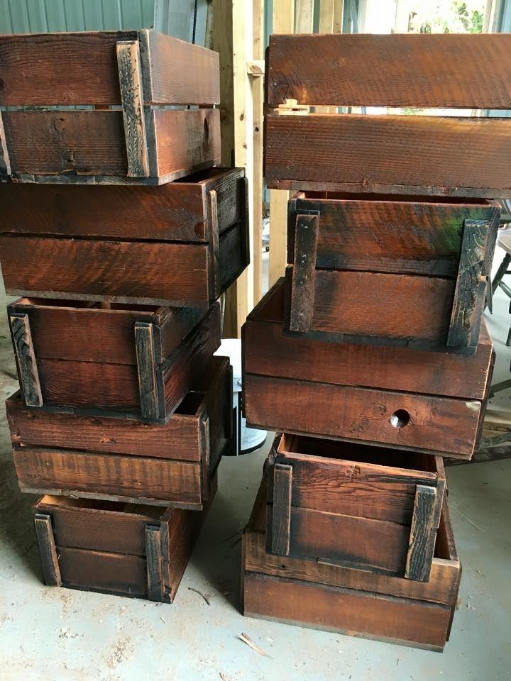 Solid reclaimed Oregon crates 33.5cm x 48cm x 24cm deep.