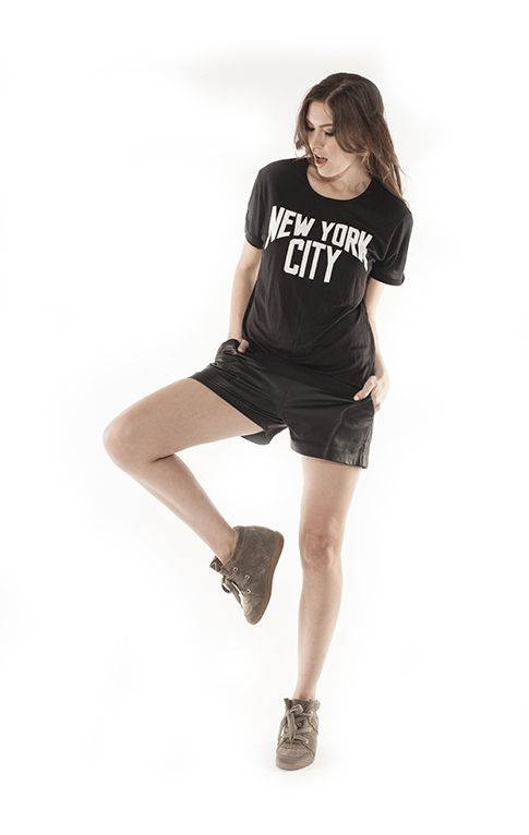 The New York City tee from THE CLIQUE #theclique #shoptheclique #newyorkcity #tee #leathershorts #blacktop