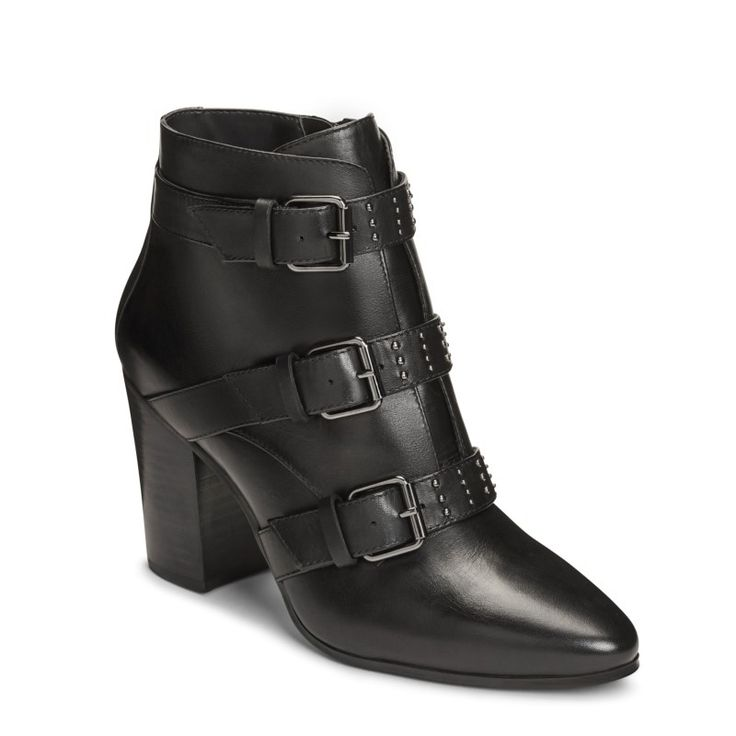 Aerosoles Women's Square Away Booties (Black Leather)