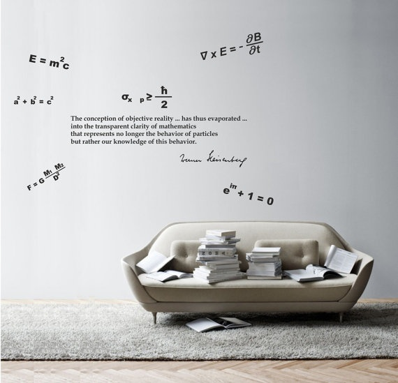 Science art physics Heisenberg's quote and beautiful equations vinyl wall decal by cutnpasteshop, $55.00