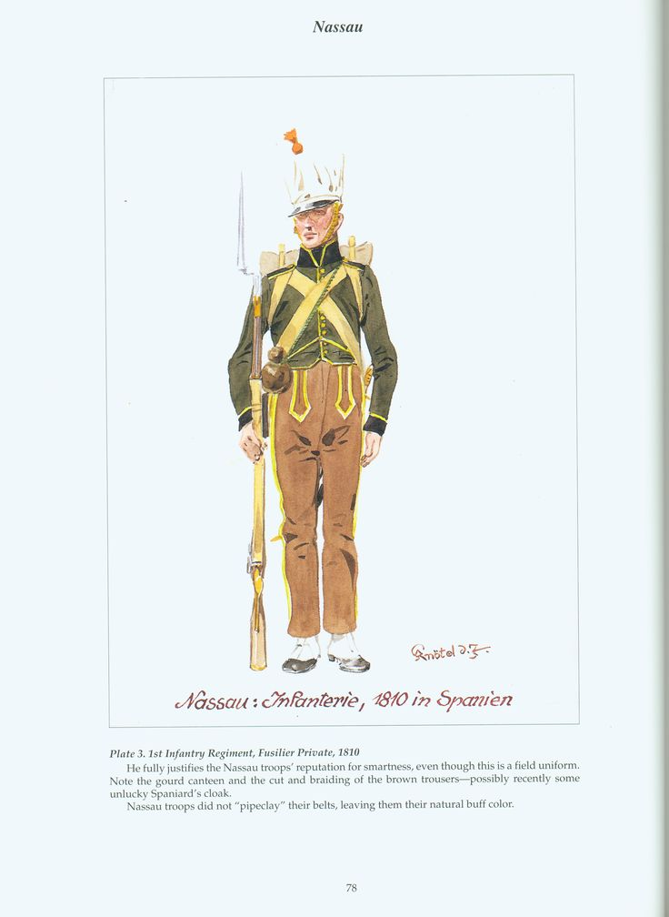 The Confederation of the Rhine - Nassau: Plate 3. 1st Infantry Regiment, Fusilier Private, 1810