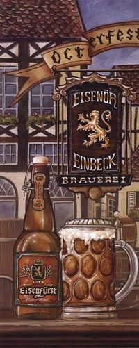 German Beer Art Print by Charlene Audrey