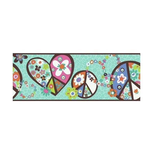 York Wallcoverings PW3918B Peace Sign Border Teal Background / Brown (1,960 INR) ❤ liked on Polyvore featuring home, home decor, borders, wallpaper, floral home decor, york wallcoverings, teal home accessories, peace sign and brown home decor