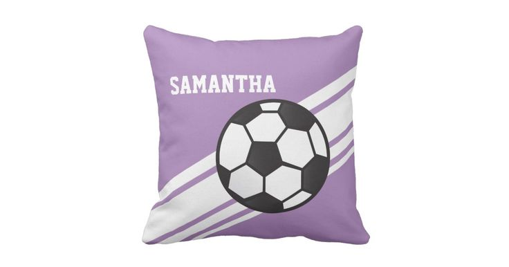 This fun sporty design features diagonal stripes with a soccer ball.  The background color is lavender purple. Personalize this pillow with a name or short phrase.  These home decor items are great for a girl's room, game lounge or soccer coach.