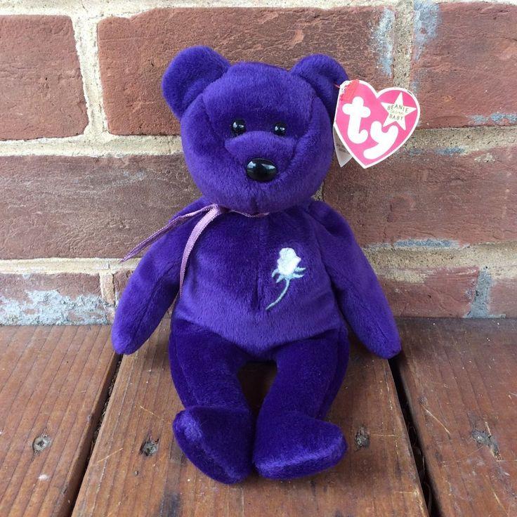 TY Beanie Baby Purple PRINCESS Diana Bear White Rose PE Pellets China 1997  | eBay