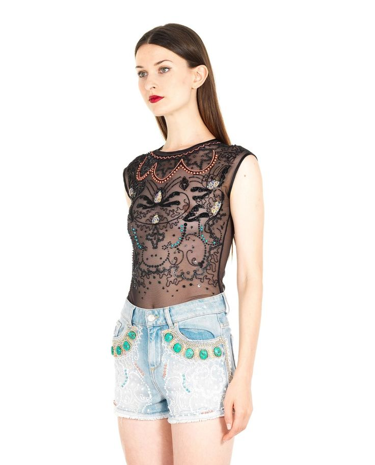 AMEN EMBROIDERED TULLE BODYSUIT S/S 2016 Black stretch tulle bodysuit crew-neck  transparent look embroidered with sequins and pearls 73% PA 27% EA