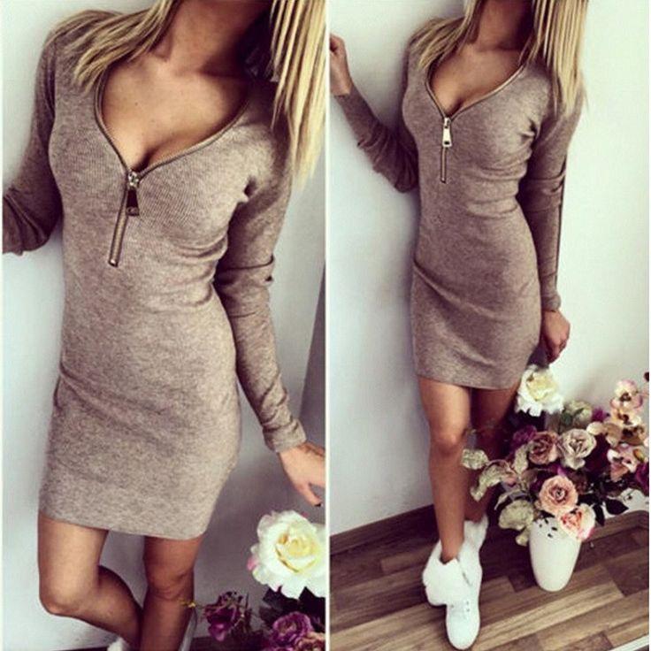 Drop Shopping 2016 Fashion Women Winter Tunic Dress Long Sleeve Sexy V-neck Dress Stretch Bodycon Dress Jumper Dress Vestidos