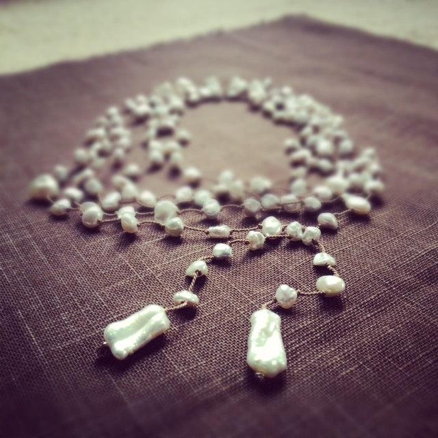 Pearl Necklace Lariat Super Long Silk Cord White Freshwater Bohemian Rustic Romantic Wedding Jewellery June Birthstone