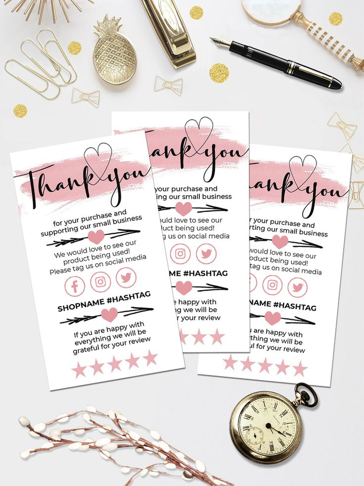 pink mini thank you for your order cards template small