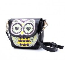 Fashion Cartoon Owl-shape Floral Print Bag