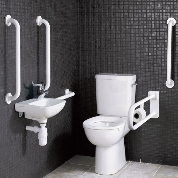 Close Coupled Doc M Pack Complying with the approved Document M of building regulations 200, as well as BS 8300:2001, the Close Coupled Doc M Pack is supplied with the equipment listed below.     1 x Close Coupled Toilet Pan     1 x Toilet Seat (Ring only)     1 x 6 Litre Cistern and Spatula Cistern Lever     2 x Washbasin Brackets     1 x Chrome Lever Basin Mixer Tap with spray action     1 x Center Tap Hole Basin     4 x 600mm Support Rails     1 x Hinged Support Rail with Toilet Roll…
