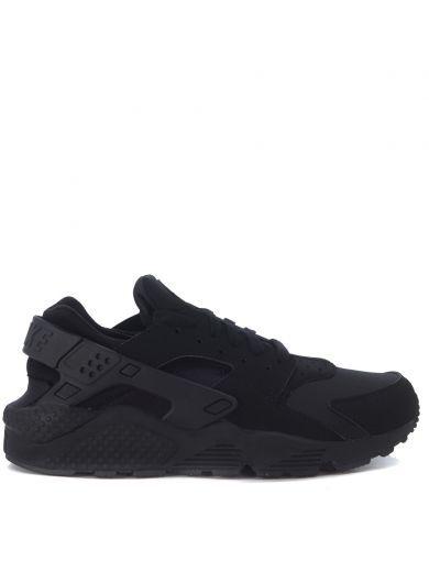NIKE Sneaker Nike Air Huarache In Tessuto Nero Ecopelle Nero. #nike #shoes #sneakers
