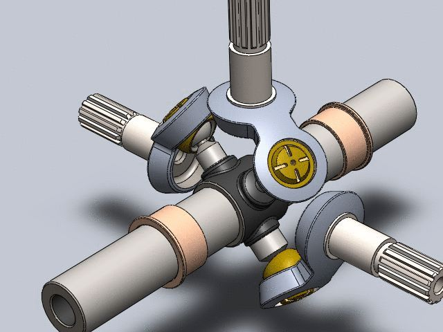 Transmission between three shafts - transmission entre trois axes - STEP / IGES - 3D CAD model - GrabCAD