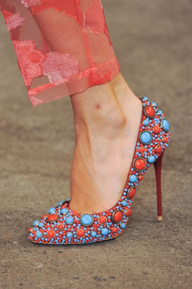 Christian Siriano Colorful Red & Turquoise - 50 Ultra Trendy Designer Shoes For 2014 - Style Estate -