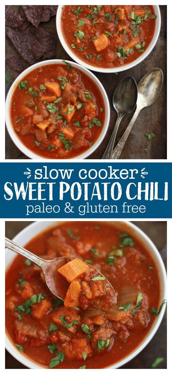 Slow Cooker Sweet Potato Chili - This paleo & whole30-frindly dish is sure to be a favorite! It doesn't get much easier than the slow cooker!