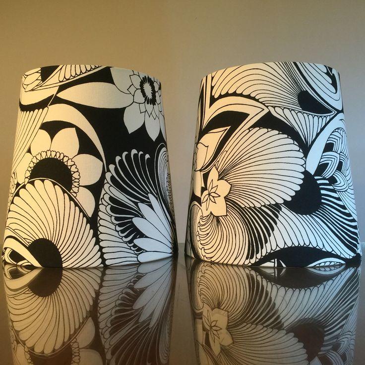 "A pair of custom tapered 10""x 8""x 10""H lampshades for a customer's bedside lamps in @signatureprints 'Aubrey' black & white. #lampshades #lampshade #customlampshades #lighting #decor #homedecor #design #interiordesign #textiles #handmade #australianmade #custom #florencebroadhurst #signatureprints #aubrey #bedside #redfern #grahamandgraham"
