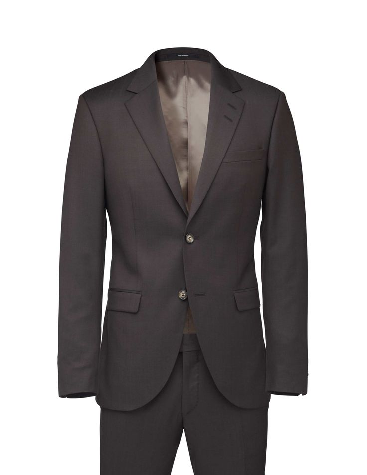 Men's slim-fit suit in cashmere-wool blend with solid structure. Blazer with slightly wider notch lapels. Two-button closure. Straight double jet pockets and double back vents. Comes with Gordon trousers featuring low waist, slim leg and slim fit. Knee-length lining.