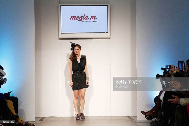 Designer Stamatia Megla walks the runway at the Megla M runway show during Nolcha Fashion Week New York at the Alvin Ailey Studios on February 9, 2012 in New York City.