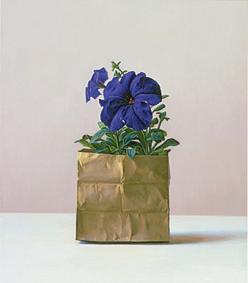"Purple Petunia Oil on board, 15"" x 13"" Scott Fraser"