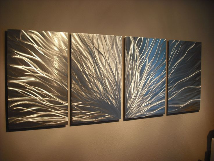 Metal Wall Art Decor Abstract Aluminum Contemporary Modern Sculpture Hanging  Zen Textured- Radiance Silver