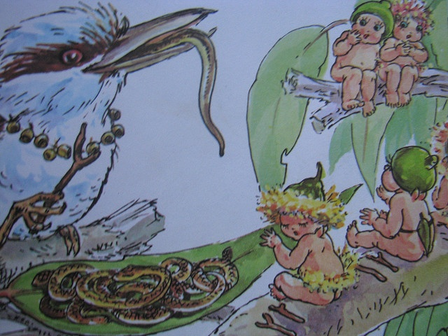 Mrs Kookaburra was in raptures and they all sat down to dinner - Snugglepot and Cuddlepie