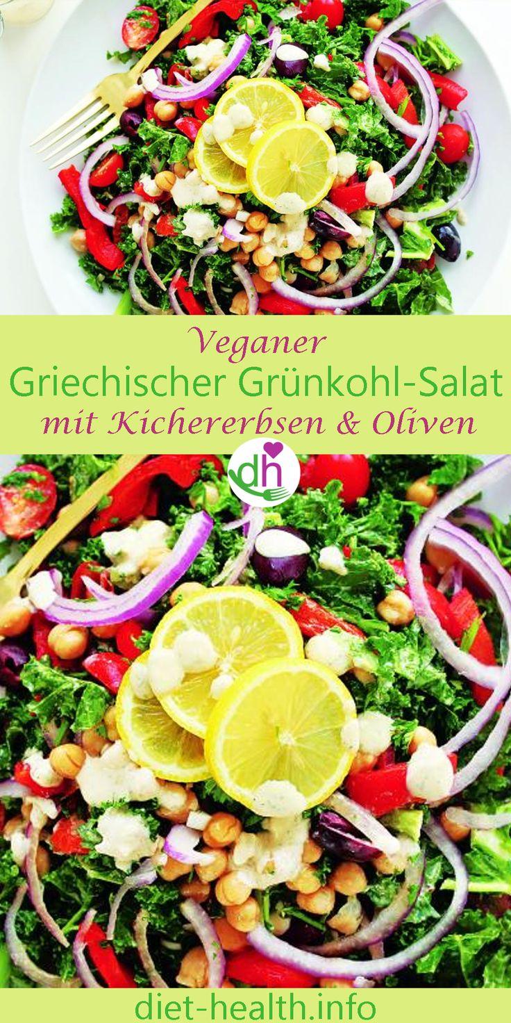 Der Griechische Grünkohl-Salat mit Kichererbsen eignet sich als leichtes Hauptgericht für alle, die abends mehr auf frisches Gemüse und Protein setzen wollen! Grünkohl ist ein #Wintergemüse und eines der Vitamin-C reichsten Lebensmittel! Beim rohen Verzehr kommen die Nährstoffe am besten zur Geltung! #veganfood #plantbased #Salat #Kichererbsen