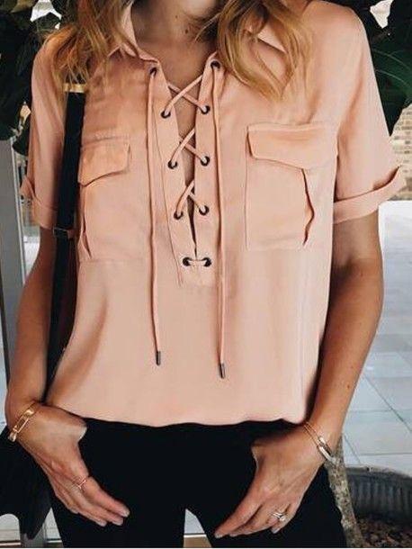 Wheretoget - Nude pink criss-cross short-sleeved shirt
