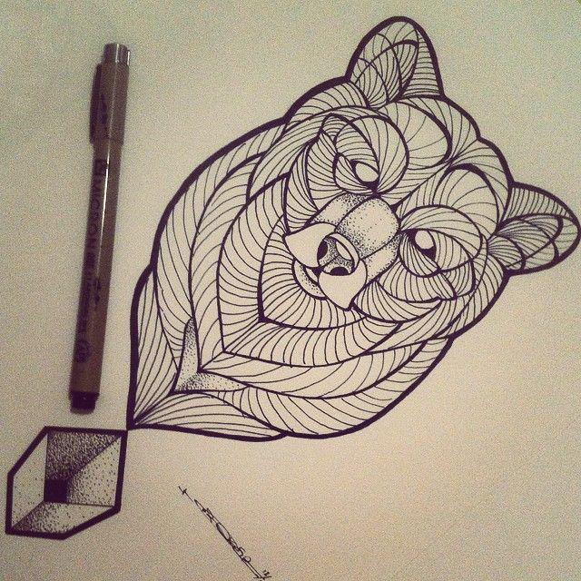 Broken Ink Tattoo - bear geometric tattoo https://instagram.com/broken_tattoo