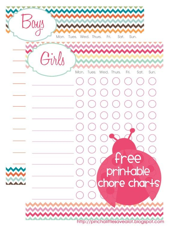 Chore charts for him & her: Save A Lots, Girls, Printable Chore Charts, Kids Chore Charts, Kids Stuff, Boys, Kid Chores, Free Printable, Kiddo