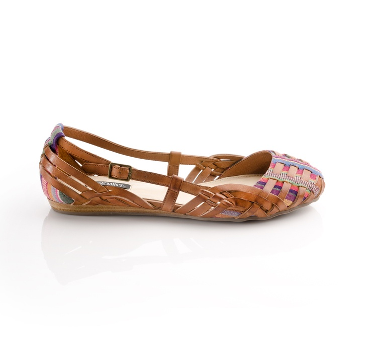 woven leather + fabric sandals