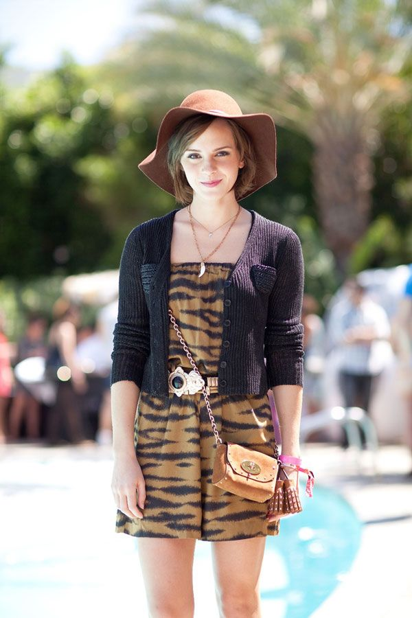 It's a jungle out there at Coachella, if Emma Watson's tiger print is any indication.    Read more: Coachella Street Style - Fashion at Coachella 2012 - Harper's BAZAAR