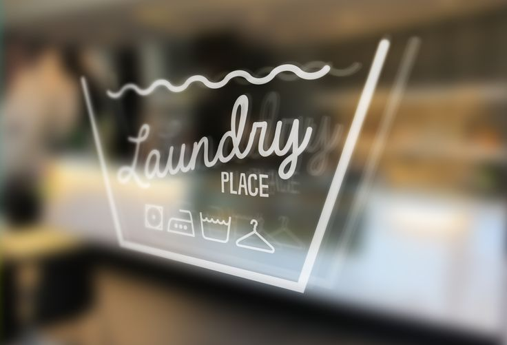 Laundry place logo on glass