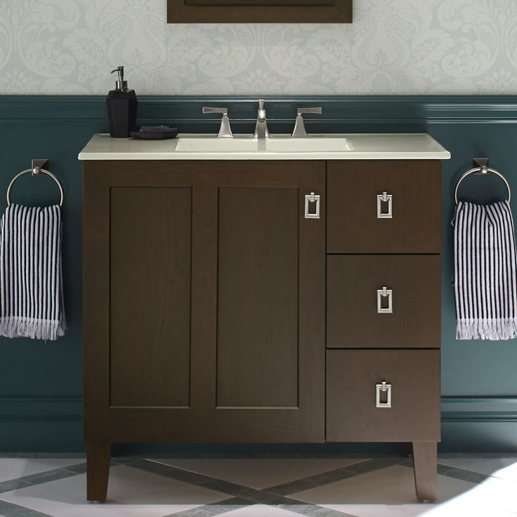 "Kohler Poplin 36"" Vanity with Furniture Legs, 1 Door and 3 Drawers On Right"