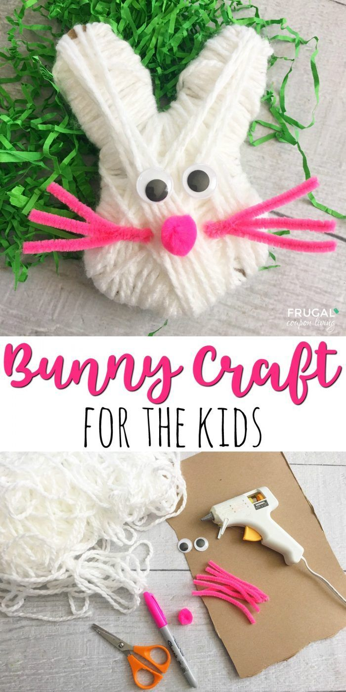 Looking for some Bunny Easter Craft for Kids - this yarn bunny was a fun and easy craft - we tried it with our preschool class and they turned out cute. Details on Frugal Coupon Living.