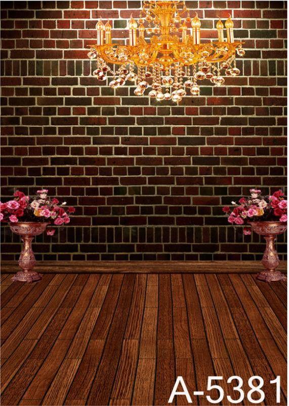LIFE MAGIC BOX Photography Backdrops Wood Floor Flower, Dark Red Brick Walls Background Fz1 Photo Studio Mh-5381