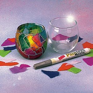 Stained Glass Votives - glass votive candle holder + tissue paper + modge podge + silver paint pen (would be really cute for making shabbat candles)