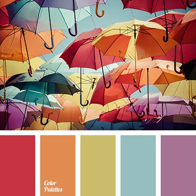 Bright and multicolored palette, radiant and very summer. A marvelously beautiful combination of warm and cold colors. Subdued shades of orange, yellow, li.