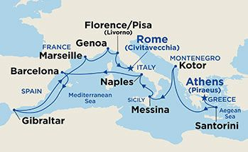 Map showing the port stops for Western Mediterranean & Adriatic Medley. For more details, refer to the List of Port Stops table on this page.