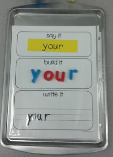 Sight Word Make-It Station - I would love to use this idea by putting flash cards on the top section.  That way the same sheet could be used over and over, and any words could be practiced!