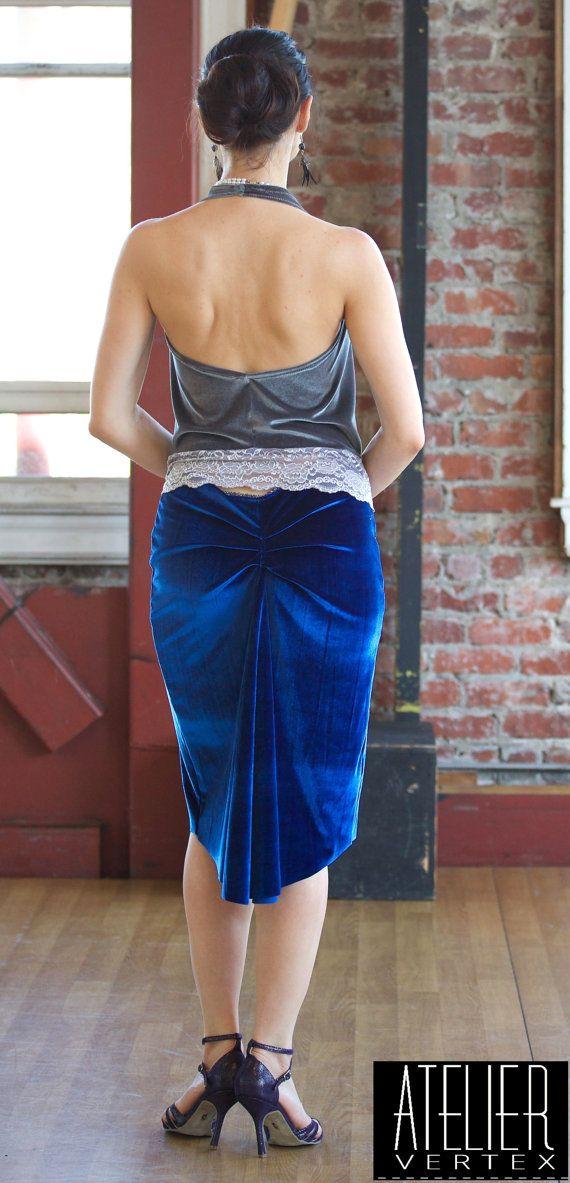 Blue Velvet Fitted Skirt. Tango Skirt. by AtelierVertex on Etsy