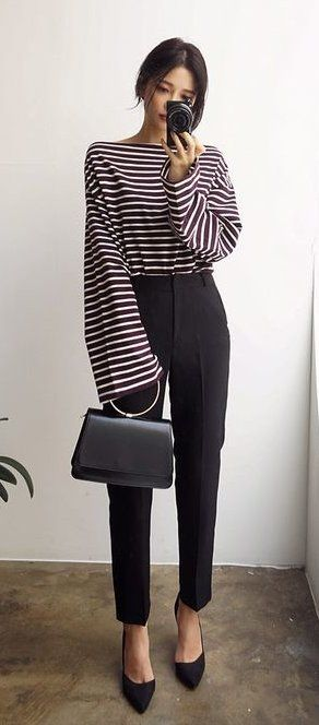 #fall #outfits women's black pants; black and white stripes long sleeve shirt