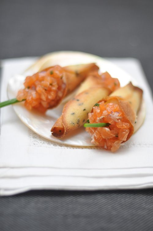 Salmon Tartare Cornets-simply beautiful: Seafood Recipes, Foodies Addiction, Events Food, Laundry Salmon, Tartar Cornet, Salmon Tartare, Foodies Things, French Laundry, Cornet Trissalici