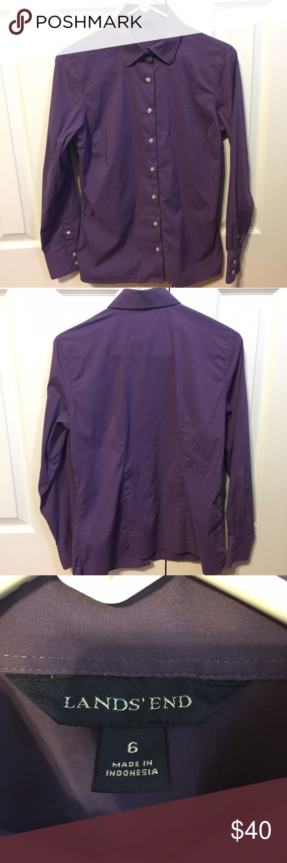 ✨Lands' End Purple Dress Shirt Size 6✨ A beautiful purple button-down dress shirt by Lands' End in womens size 6! Has been worn only a handful of times, and in extremely good condition. Still has two additional buttons on the tag on the inside.  Consider looking at the rest of my store, I have a 20% bundle discount and consider most good offers! Lands' End Tops Button Down Shirts
