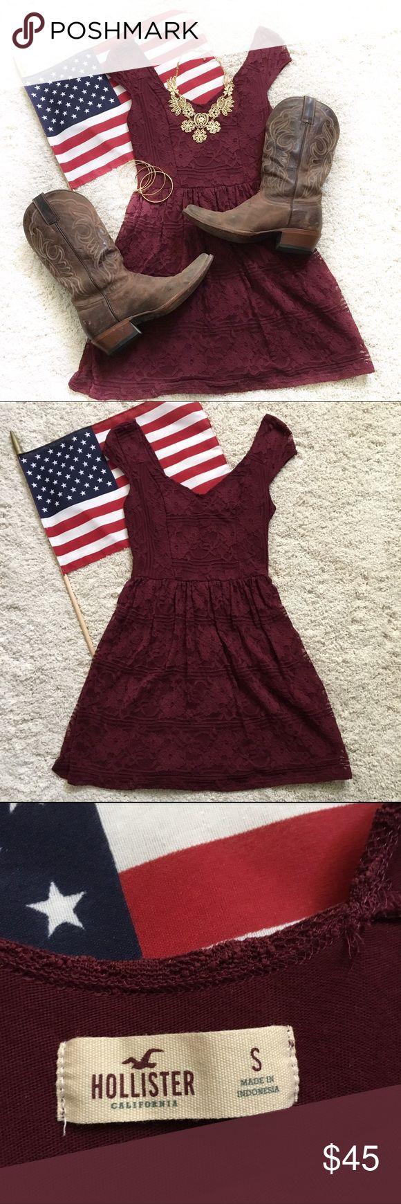 Hollister Maroon lace dress🇺🇸💕 Hollister Maroon lace dress🇺🇸💕 Hollister Dresses Mini