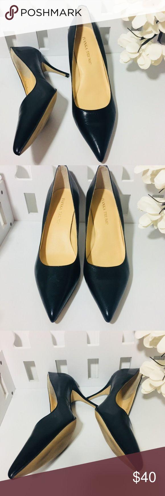 "Ivanka Trum Black Boni pointy toe pumps size 8 Ivanka Trum Black 'Boni' Leather, pointy toe, pumps size 8. In great condition. Heel is 3"" tall. Ivanka Trump Shoes Heels"