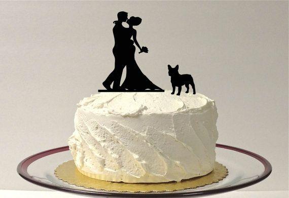 WITH PET DOG Wedding Cake Topper Silhouette Wedding Cake Topper Bride + Groom + Dog French Bulldog Corgi Pet Family of 3 CakeTopper Corgi