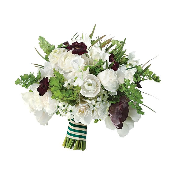 Brides.com: The Prettiest Wedding Bouquets of the Year. A Preppy Wedding Bouquet With Ranunculuses. When a wedding has notes of navy, green, and tartan mixed throughout, you know you're in for the epitome of preppiness. Go all out with a clean, crisp bouquet with a mix of whites, greens, and dark blooms like this one, to match that theme.  Ranunculus, peony, and greenery wedding bouquet, $325, Rebecca Shepherd Floral Design  See more ranunculus wedding flowers.